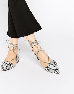 ASOS+LOCKET+Lace+Up+Pointed+Ballet+Flats