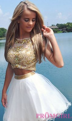 Prom Dresses, Celebrity Dresses, Sexy Evening Gowns - PromGirl: Open Back Two Piece Babydoll Dress by Alyce White Homecoming Dresses, Cute Prom Dresses, Sweet 16 Dresses, Dance Dresses, Pretty Dresses, Prom Gowns, Mini Dresses, Cotillion Dresses, Girls Dresses