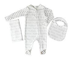 Personalized Footed Onesie + Blanket + Bib Combo - polka dots - JenniferAnn