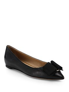 Salvatore Ferragamo Mini Leather Point-Toe Ballet Flats - Saks
