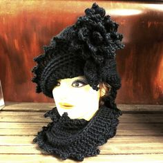 Black Crochet Hat Womens Hat Infinity Scarf LAUREN Crochet Cloche Hat Crochet Flower Black Hat Black Scarf Black Crochet Scarf by strawberrycouture by #strawberrycouture on #Etsy