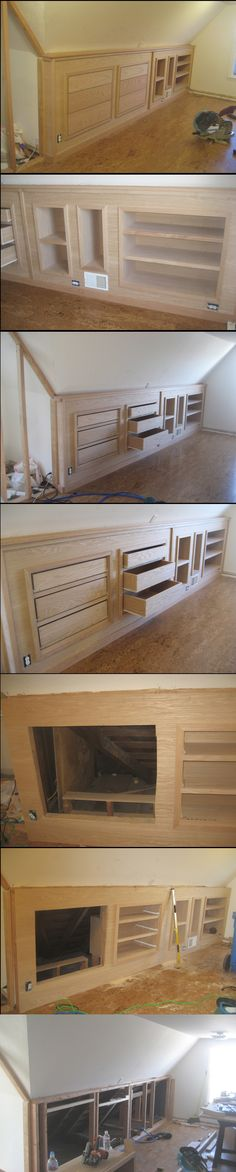 built-in knee wall cabinetry! Built-in knee wall cabinetry.Built-in knee wall cabinetry. Attic Bedrooms, Upstairs Bedroom, Attic Bedroom Kids, Bedroom Ideas, Master Bedroom, Attic Bathroom, Bedroom Wardrobe, Design Bedroom, Modern Bedroom