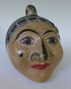"Vintage Mexican folk art Tonala burnished pottery head bank SOLIS 4"" x 4"" x 5"""
