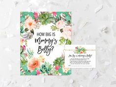 Succulent How Big Is Mommy's Belly Game Printable Cactus Baby Shower Belly Size Guessing Game Succulent Belly Size Game Shower Activity 240 by MossAndTwigPrints on Etsy