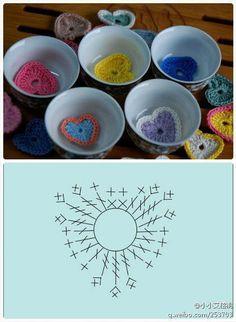 Dena's Crochê: Corações em Crochê com gráfico
