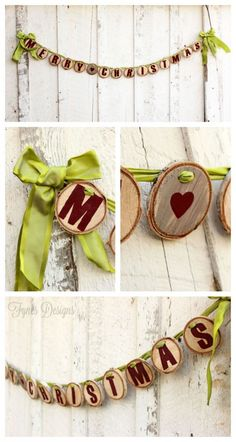 Merry Christmas Wood Slice garland from fynesdesigns.com