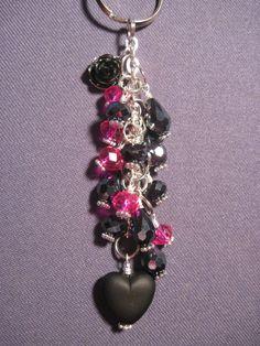 Pink and Black Glass Bead Purse Charm / Key Chain by FoxyFundanglesByCori, $10.00