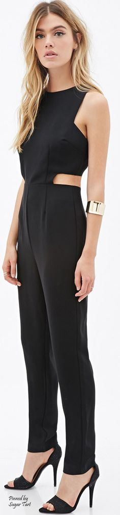 Black jumpsuit with cigarette style pant and interesting cutout work at the midriff. forever21.com