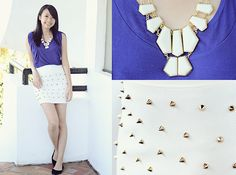 Little Nook Studded White Bandage Skirt, Crisela Collection Indigo Top