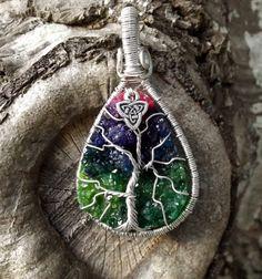Tree of Life Pendant covering Vivid Rainbow by TheSleepyFirefly, $56.95