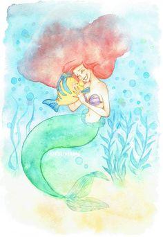 Embedded image Disney Little Mermaids, Mermaids And Mermen, Ariel The Little Mermaid, Arte Disney, Disney Fan Art, Disney Style, Disney Crossovers, Disney Movies, Disney And Dreamworks