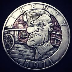 """""""Popeye"""" carved by Donald Jenkins Hobo Nickel, Coin Art, Show Me The Money, Old Coins, Skull Art, Art Forms, Sculpture Art, Carving, Money Talks"""