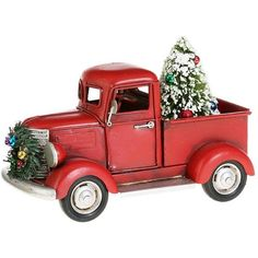 red truck with christmas tree and wreath - Christmas Truck Decor