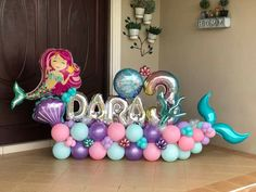 2nd Birthday Party For Girl, Mermaid Theme Birthday, Little Mermaid Birthday, Mermaid Party Decorations, Birthday Party Decorations, Balloon Bouquet, Balloon Garland, Baby Shower Balloons, Birthday Balloons