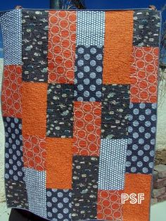 """""""orange you glad"""" quilt.. this was so much fun to make and so easy too.. only used 5 different prints."""
