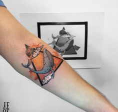 Triangular Watercolor Whale Tattoo by Yeliz Ozcan