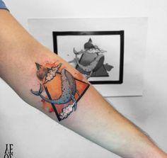 Triangular Watercolor Whale Tattoo by Yeliz Ozcan