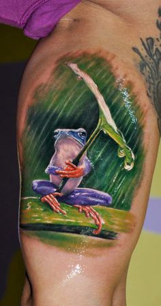 #tattoostudio #nadelwerk #colour #leg #frog #realistic #tattoo