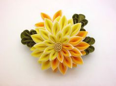 Yellow white chrysanthemum tsumami kanzashi hair clip, flower snap clip, bridal headpiece, fascinator