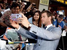 Chris Hemsworth taking a selfie at the world premiere of 'Avengers: Age of Ultron.'