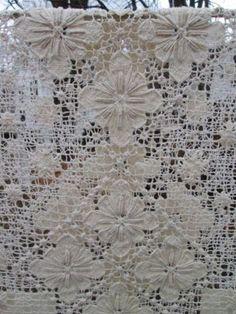 "Vintage Tablecloth Net Filet Lace Handmade 84""x 60"" Very Good Floraldesign Ecru | eBay"