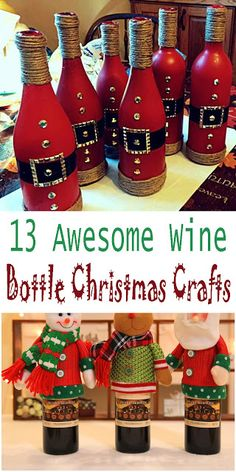 13 Awesome Wine Bottle #Christmas #Crafts