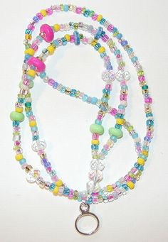 ID Badge Holder Beaded Lanyard Happy Glass Bright Neon Colors