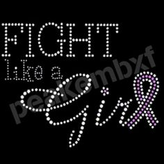 Hot fix Fight like a Girl Ribbon motif Transfer Rhinestone for Bags