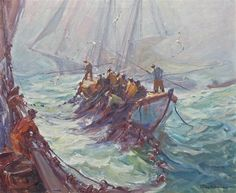 """""""Casting the Nets,"""" Emile Albert Gruppe, oil on canvas, 30 x 36"""", private collection."""