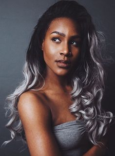 black to gray ombre for black women