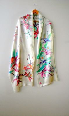 """batik silk satin scarf womens scarf Orchids spring scarf hand painted 79 """" by ready to ship by Allatai on Etsy Hand Painted Dress, Painted Clothes, Painted Silk, Spring Scarves, Silk Art, Silk Shawl, Fabric Painting, Silk Scarves, Textiles"""