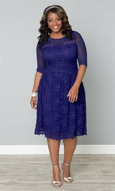 Scalloped Luna Lace Dress | Plus Size Special Occasion Dresses | OneStopPlus