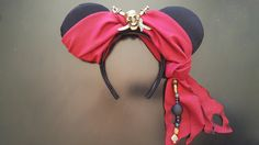 Pirates Of The Caribbean Inspired Minnie Mouse Disney Ears by DoodadsByDesign Diy Mickey Mouse Ears, Diy Disney Ears, Disney Mickey Ears, Disney Bows, Disney Diy, Disney Crafts, Disney Outfits, Disney Cruise, Disney Ears Headband