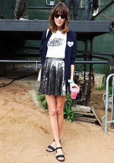I dig this... Tee, sparkly skirt, and slides