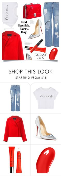 """""""Red Confidence"""" by marina-volaric ❤ liked on Polyvore featuring beauty, Steve J & Yoni P, WithChic, Cédric Charlier, Christian Louboutin, Burberry, NARS Cosmetics and glossylips"""