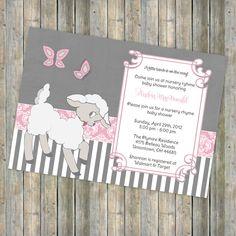 nursery rhyme baby shower theme | little lamb baby shower invitation, nursery rhyme shower, digital ...