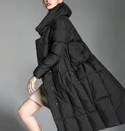 Irregular Hem Long Loose Women Down Coat Hooded Winter Loose 90% Duck – SimpleLinenLife