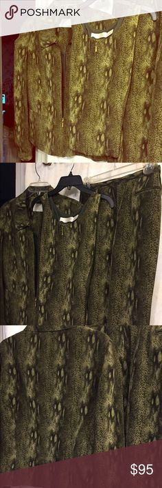 "3 pc. Silk pants suit Green/blackish animal print pant suit. Long sleeve jacket, matching shell and slacks.  Very good condition; Pants length 40"". ; inseam 28"" Make me an Offer Dana Buchman Other"