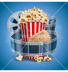 Cinema background with popcorn snacks vector 02 Popcorn Bowl, Popcorn Snacks, Cinema Times, Banner Images, Film Strip, Kid Movies, Baking Ingredients, Cookie Dough, Night