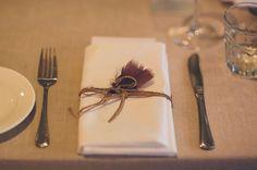 POLLY + SAM // #boho #simple #tablesetting #feather #twine #cutlery #reception #wedding