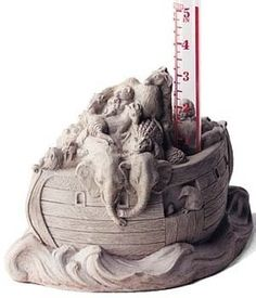 Noah's Ark Rain Gauge by eEarthExchange. $57.39. Handy and decorative8.75 x 6.25 x 8.75 inches. Is the rain getting deep enough that you need to start building a boat? Find out by checking with this handy and decorative Noah?s Ark rain gauge.  The sculptured base features Noah marshalling some of his critters into the ark, while keeping an eye on the rain gauge beside him.  A uniquely fun and useful accent for the garden or deck.  Concrete, glass.  8.75 x 6.25 x 8.75 inches.