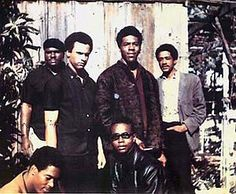 "Original six members of the Black Panther Party (1966) Top left to right: Elbert ""Big Man"" Howard, Huey P. Newton (Defense Minister), Sherman Forte, Bobby Seale (Chairman) Bottom: Reggie Forte and Little Bobby Hutton (Treasurer)"