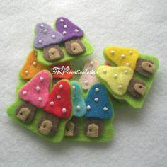 Handmade Twin Mushroom Felt Applique 1 (Double layers - Assorted Colors) - kinda cute.