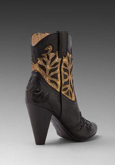Frye Regina - Overlay Heel Bootie ( Black/Gold )