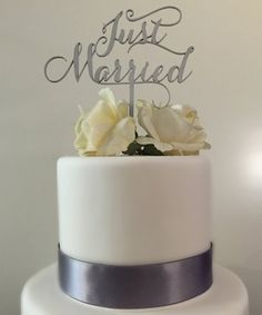 Just Married Cake Topper for Weddings by PSWeddingsandEvents