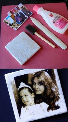 Transferring pictures to tiles by using nail polish remover! Very cool!