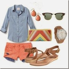 Denim and coral summer fashion | Fashion World