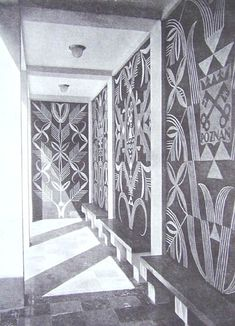 Sgraffito decoration in Polish Pavilion by Adalbert Jastrzebowski: Polish artists, who have a position of political importance in their own country which would be inconceivable in England and most other countries, and who have done so much towards the revival of their country, sent splendid works to Paris (illustration 60B; quote from page 58)