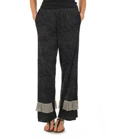 Another great find on #zulily! Deep Gray Ruffle-Hem Casual Pants - Plus #zulilyfinds