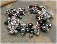 Pentacle of the Dragon chunky charm bracelet fire element, wiccan jewelry,YULE sale ,Last chance for xmas delivry by fedex